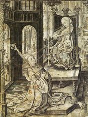The Lactation of Saint Bernard of Clairvaux. Virgin Mary is shooting milk into the eye of Saint Bernard of Clairvaux from her left breast. Bernard described this miraculous healing of an eye affliction himself in the 12th century. the engraving is 32 x 24