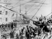 English: Boston Tea Party: Colonists dumped the British's tea into the Boston Harbor. The reason being that they were angry at the British government for taxing the colonies. While the colonists were doing this you can see in the picture that they had dre