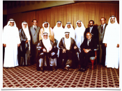 Investcorp's First Board of Directors. Picture taken 1982. Jawad Hashim appears in back-row (3rd from left) and Nemir Kirdar appears front-row (right).