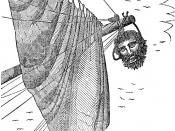 """The pirate Blackbeard's head hanging from the bowsprit: this was published in Ellms, Charles  [ 1837] (1842). """"The Life, Atrocities, and Bloody Death of Black Beard"""", The Pirates Own Book, p. 319, New York, United States: A. & C.B."""