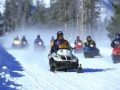 A snowmobile tour at Yellowstone National Park