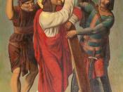 Jesus helped by Simon of Cyrene, part of a series depicting the stations of the Cross. Chapel Nosso Senhor dos Passos, Santa Casa de Misericórdia of Porto Alegre, Brazil. Oil on canvas, XIXth century, unknown author.
