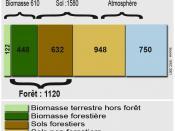 Français : Stock de carbone mondial (hors océan), en GtC. Source données = GIEC (=Intergovernmental Panel on Climate Change =IPCC) 2001