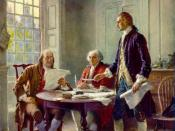 Benjamin Franklin, John Adams and Thomas Jefferson writing the Declaration of independence (1776) were all of British descent.