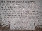 English: Ten Commandments monument at the Mower County Courthouse in Austin, Minnesota.