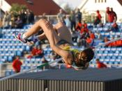 A high jump being performed by Yelena Slesarenko at Stavanger Games 2007.
