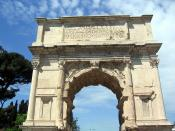 The Arch of Titus was restored in the early nineteenth century by the architect Valadier, who basically reconstructed it. Only the central arch and inscription are original.