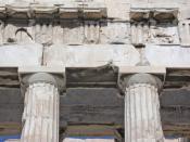 English: Greece, Athens, Parthenon, entablature on western front