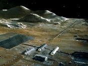 A Lunar base with a mass driver (the long structure that goes toward the horizon). NASA conceptual illustration
