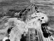 While trains were used to transport U.S. Soldiers and their equipment during the Korean War, trains in North Korea were targets of attack by U.S. and other U.N. forces. Here, U.S. forces target rail cars south of Wonsan, North Korea, an east coast port ci