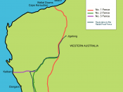 Map of the actual Rabbit proof fence showing the trip from Moore River to Jigalong.