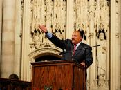 Martin Luther King, III in New York city, 2007. Martin Luther King, III is an American human rights advocate and community activist. He is the eldest son of civil rights leader Martin Luther King, Jr. and Coretta Scott King.