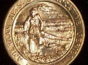 English: Reverse of 1981 Willa Cather half ounce medallion
