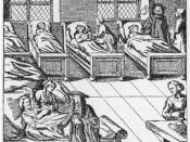 A physician visiting the sick in a hospital, German engraving from 1682