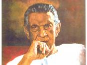 English: Potrait of Satyajit Ray, painted by Rishiraj Sahoo in 1997