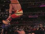 English: Hulk Hogan hitting his infamous Leg Drop on Vince McMahon. March 302003. Safeco Field Seattle, WA