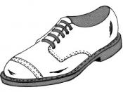 English: Line art drawing of shoe. Suomi: Piirustus kengästä.