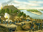 English: TITLE: Siege of Vicksburg--13, 15, & 17 Corps, Commanded by Gen. U.S. Grant, assisted by the Navy under Admiral Porter--Surrender, July 4, 1863, by Kurz and Allison