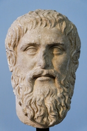 Plato. Luni marble, copy of the portrait made by Silanion ca. 370 BC for the Academia in Athens. From the sacred area in Largo Argentina, 1925.