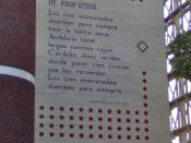 English: The poem De profundis of the Spanish poet Federico García Lorca on the eastern wall of the Kamerlingh Onnes Gebouw, at the corner of the Langebrug and the Zonneveldstraat in Leiden, The Netherlands. Nederlands: Het gedicht De profundis van de Spa
