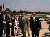 English: Secretary of Defense William S. Cohen, (right) escorts Steven Spielberg (left) through a military honor cordon into the Pentagon. Cohen will later present the Department of Defense Medal for Distinguished Public Service to Spielberg.