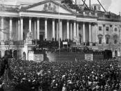 Photograph showing the March 4, 1861, inauguration of Abraham Lincoln in front of U.S. Capitol Building