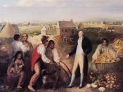 English: Portrait of Benjamin Hawkins (1754-1818) on his plantation along the Flint River in central Georgia. Hawkins is seen teaching Creek Indians how to use a plow. Behind Hawkins, a Creek Indian carries a basket of corn from the back of a wagon. On th