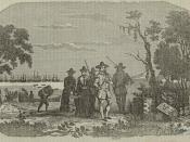 Depiction of John Winthrop landing at Salem in 1630.