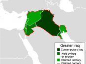 Map of the territories of a Greater Iraq as has been promoted by some Iraqi nationalists.