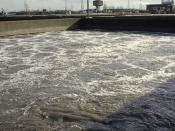 English: Beckton STP: Activated Sludge Tank The primary effluent from the settling tanks (1481890) is now largely free of solid matter, but contains much dissolved organic matter. In these tanks it is vigorously aerated so that micro-organisms can convert