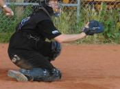 English: Softball catcher Dansk: Softball catcher