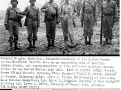 General Douglas MacArthur meeting Navajo, Pima, Pawnee and other Native American troops.