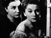 A screenshot of Judith Anderson and Joan Fontaine in Rebecca