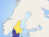 Sweden in the 9th century. Svealand in yellow, Götaland in blue and Gotland in green. Swedes Geats Gutes