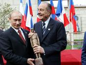 DE GAULLE SQUARE, MOSCOW. With French President Jacques Chirac at the opening ceremony of a monument to General De Gaulle. French President was presented the small copy of the monument.