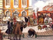 English: Alexandre Benois. Promenade of Empress Elizabeth through the Noble Streets of St Petersburg (1903).