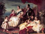 Queen Victoria's family in 1846 by Franz Xaver Winterhalter left to right: Prince Alfred and the Prince of Wales; the Queen and Prince Albert; Princesses Alice, Helena and Victoria