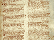 English: Page from the Domesday Book for Warwickshire, including listing of Birmingham