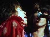 English: Mick Jagger and Keith Richards in 1972 tour at Winterland in San Francisco, in June