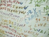 English: A schizophrenic patient at the Glore Psychiatric Museum made this piece of cloth and it gives us a peek into her mind. Русский: Вышивка, сделанная пациентом, страдающим от шизофрении. Экспонат психиатрического музея Глор, Миссури.