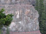 Close up view of the flood basalt lava layers in Chasm Provincial Park