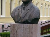 English: Bust of Hans Selye Magyar: Komárom - Selye János szobra a Tiszti pavilon udvarán Slovenčina: Komárno - socha Jánosa (Hansa) Selyeho vo dvore Dostojníckeho Pavilóna