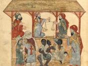 A 13th century book illustration produced in Baghdad by al-Wasiti showing a slave-market in the town of Zabid in Yemen.