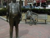 Dual statues of Boston Mayor James Michael Curley.