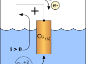 Diagram of a copper cathode in a galvanic cell (e.g., a battery). A positive current i flows out of the cathode (CCD mnemonic: Cathode Current Departs).