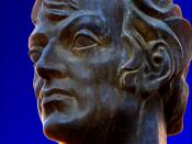 This is a bronze bust of the famous Roman poet Martial (Marcus Valerius Martialis, 38 – 104), sculptured by Juan Cruz Melero (1910 – 1986). Melero, the Spanish artist, not only was born in the same place as Martial. Both Martial and Melero, when aged 25-4