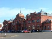 English: Restored facade of the train station in Kazan, Russia. June 2008. Français : La façade récemment restaurée de la gare de Kazan, en Russie, photographiée en juin 2008.