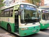 English: Buses in Ho Chi Minh City, also known as Saigon. As of 2007 most rides cost 3000 dong.