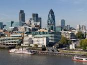 English: The City of London skyline as viewed toward the north-west from the top floor viewing platform of London City Hall on the southern side of the Thames. In the foreground: Dixie Queen and Millennium Time at Tower Millennium Pier. This is a 5 segmen
