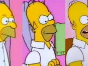 Homer's design has been changed several times over the course of the series. Left to right: Homer as he appeared in